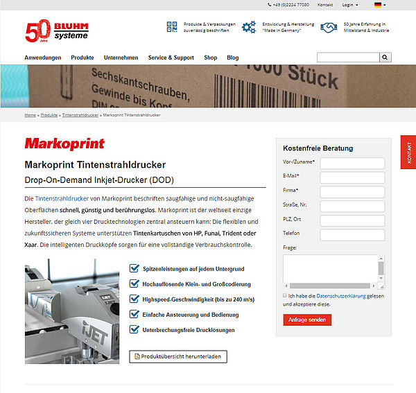 Screenshot Bluhm Systeme Homepage